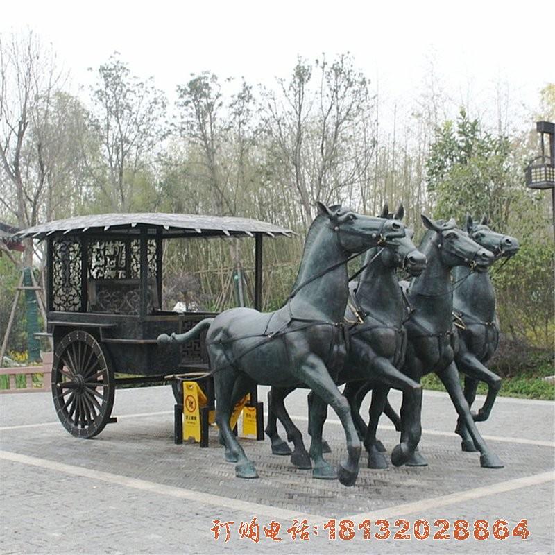 古代马车铜雕 园林景观铜雕