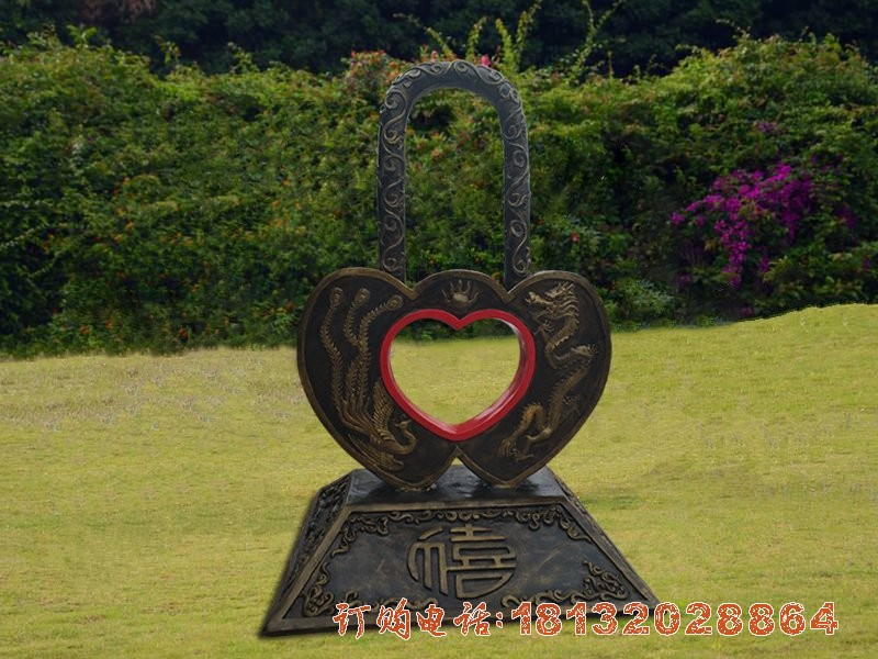 同心锁铜雕