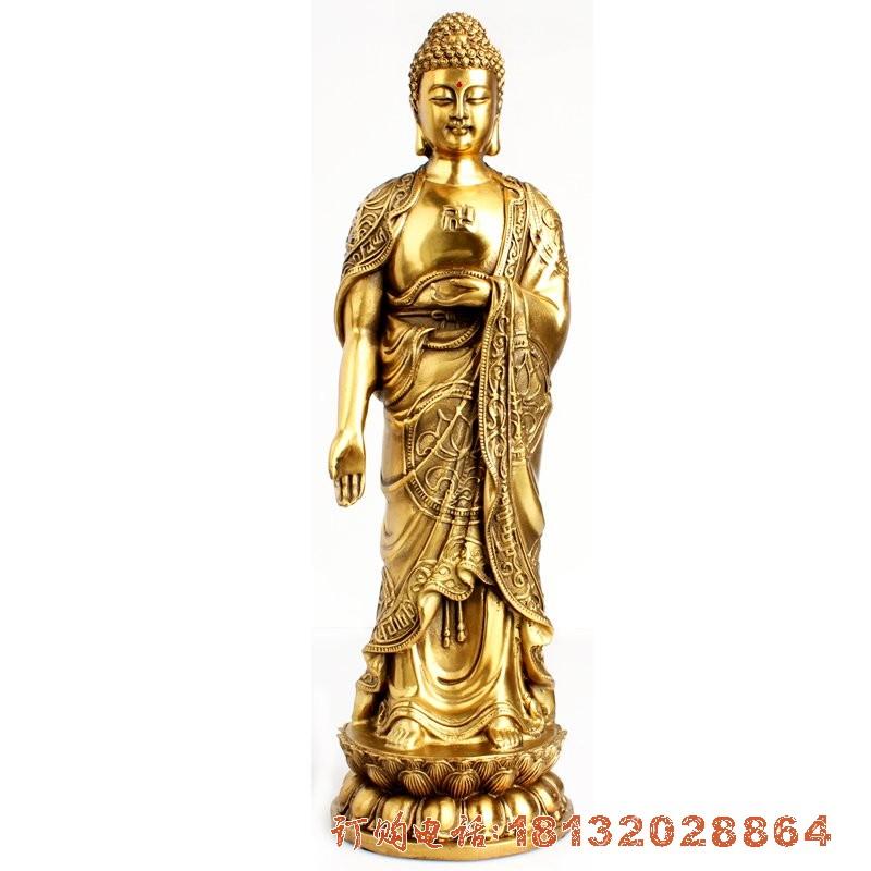 立式如来铜雕 鎏金铜佛像