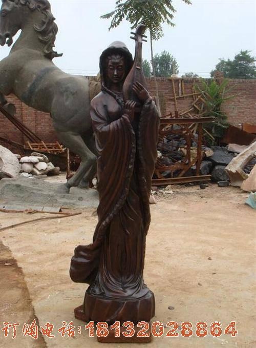王昭君铜雕 古代美女铜雕