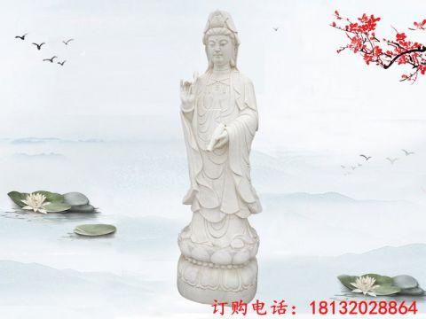 大理石立式观音雕像