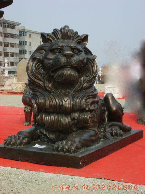 铜雕西洋狮子