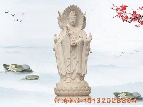 石雕三面观音汉白玉佛像