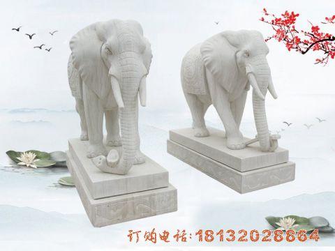 汉白玉如意大象石雕