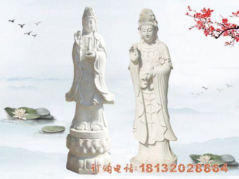汉白玉立式观音菩萨石雕