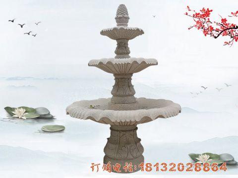 大理石三层喷泉石雕