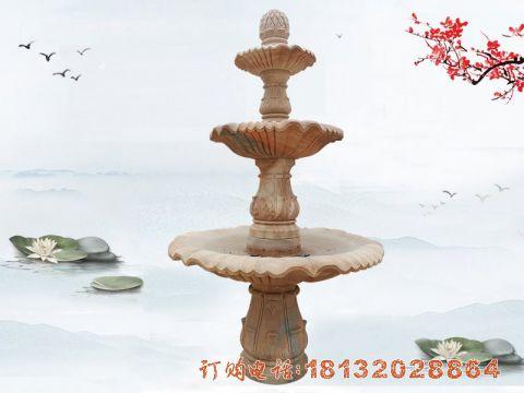 晚霞红三层喷泉石雕