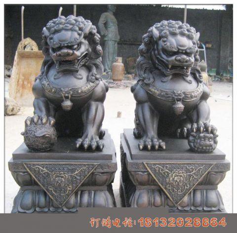 铜雕北京狮