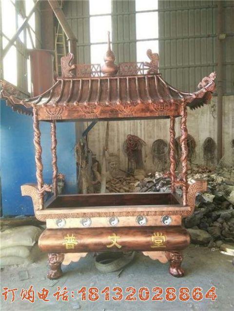 寺庙方形铜雕香炉