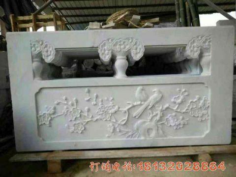 汉白玉喜上眉梢浮雕栏板石雕