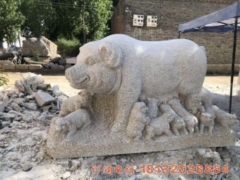 公园大理石母子猪石雕