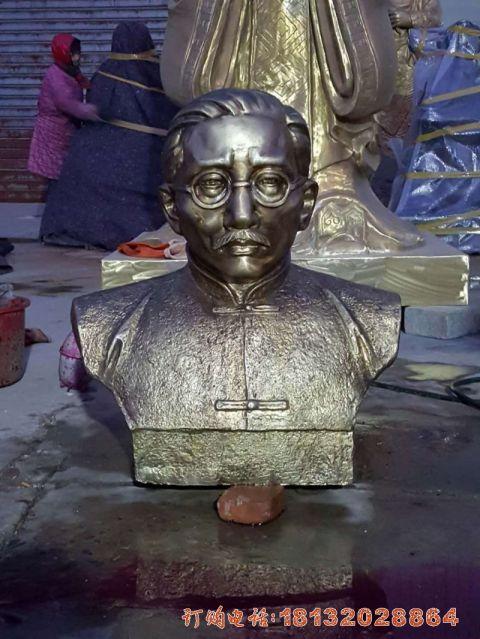 江西施工的蔡元培头像铜雕