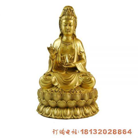 鎏金坐式观音菩萨铜雕