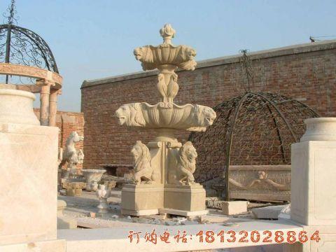 砂岩欧式动物喷泉石雕