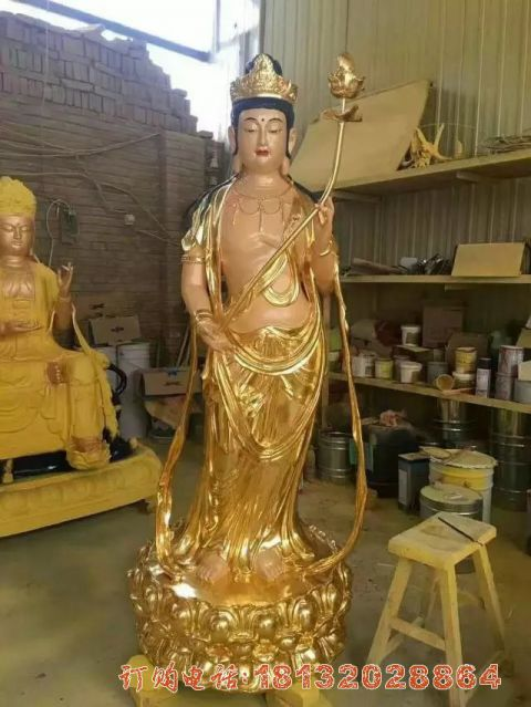 大势至菩萨铜雕