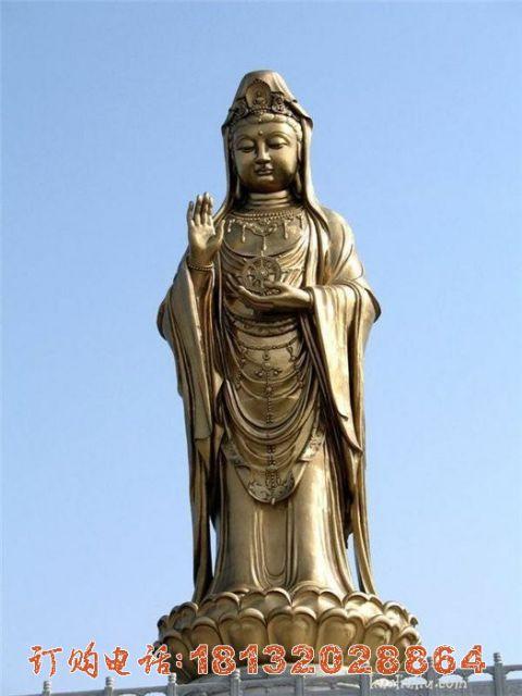 大型立式观音铜雕
