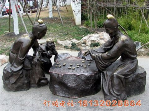 下象棋的古代人物铜雕