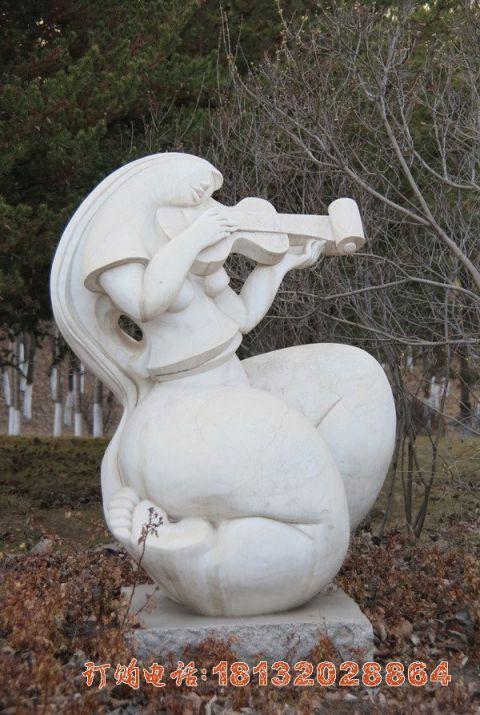 抽象拉小提琴人物石雕