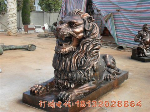 趴着的汇丰狮子铜雕