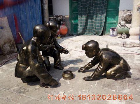 玻璃钢仿铜斗蛐蛐的古代儿童