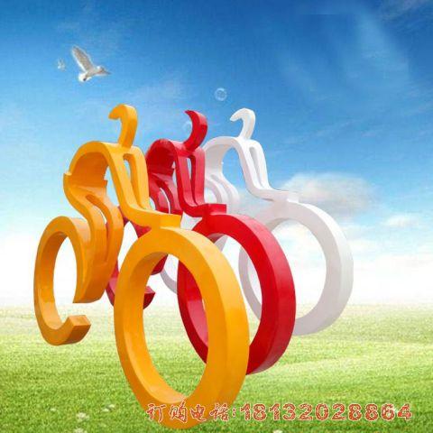 玻璃钢抽象骑自行车人物