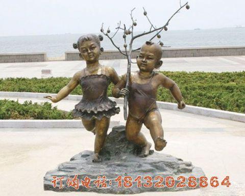 玩耍的儿童铜雕