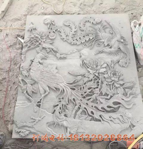 大理石凤凰浮雕