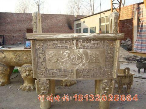 四足方鼎铜雕
