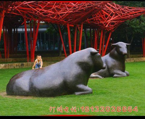 公园抽象牛铜雕