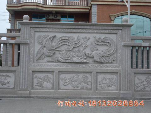 大理石凤凰壁画浮雕