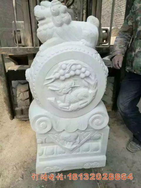 汉白玉狮子门墩