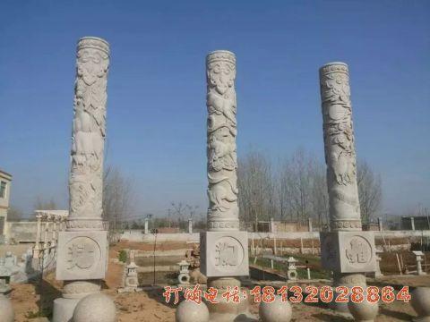 广场十二生肖文化柱石雕