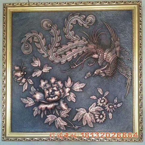 凤凰牡丹铜浮雕