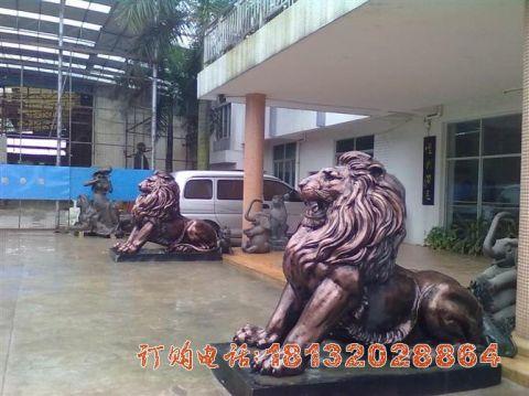 紫铜西洋狮子铜雕
