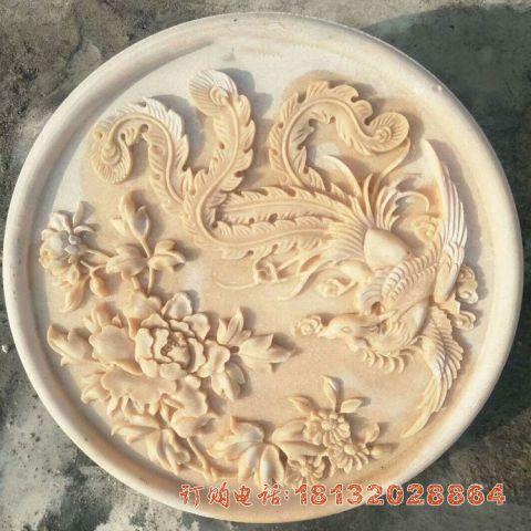 晚霞红凤凰牡丹石浮雕