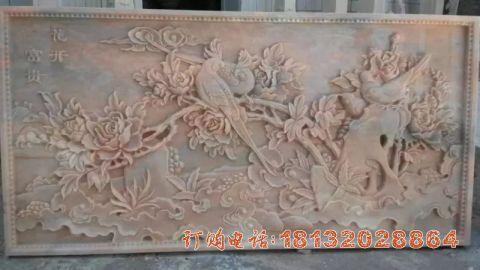 牡丹花石浮雕