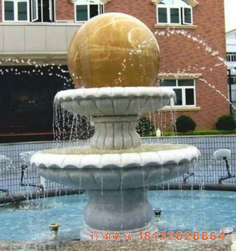 石雕双层风水球喷泉