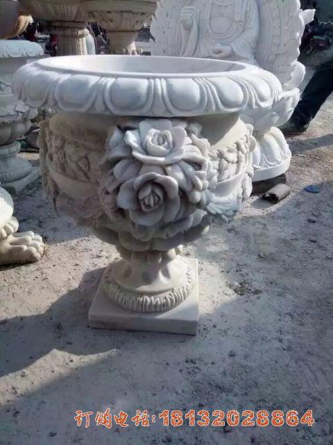 花朵浮雕欧式花钵石雕