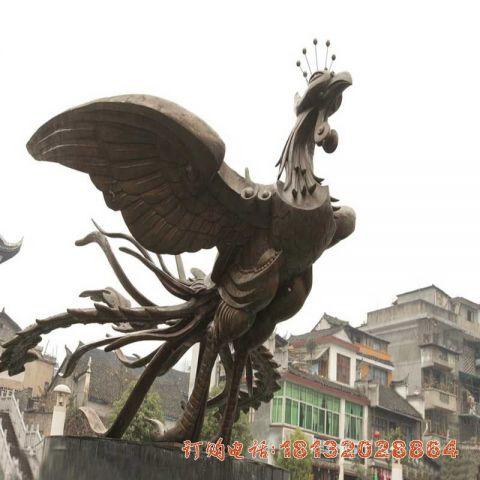 凤凰展翅铜雕