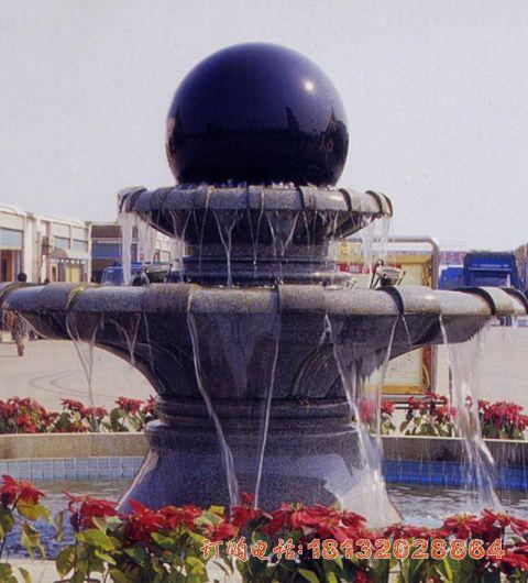中国黑双层风水球喷泉石雕