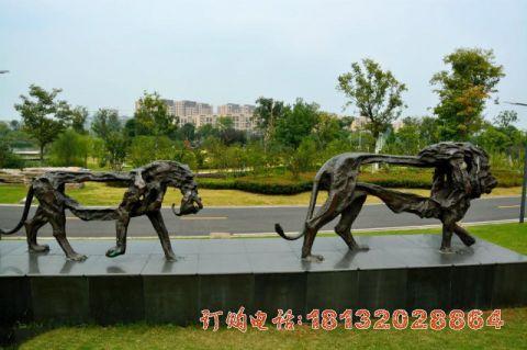 公园动物抽象狮子铜雕