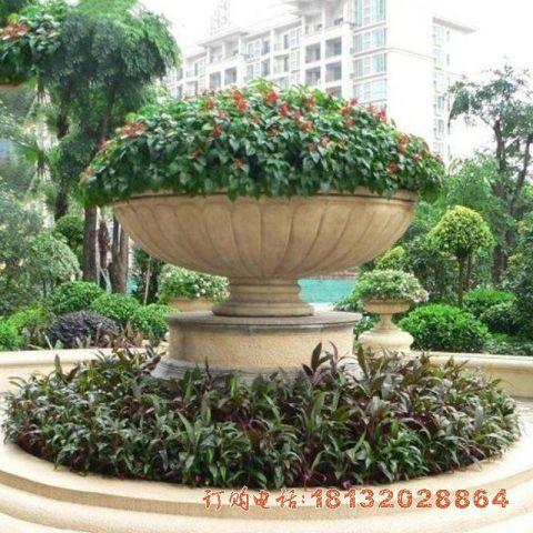 石雕小区花盆