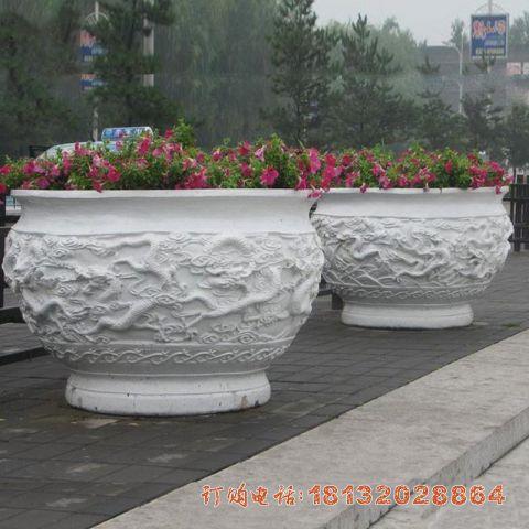 汉白玉公园龙浮雕花盆