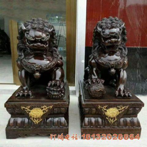 铜雕故宫狮子