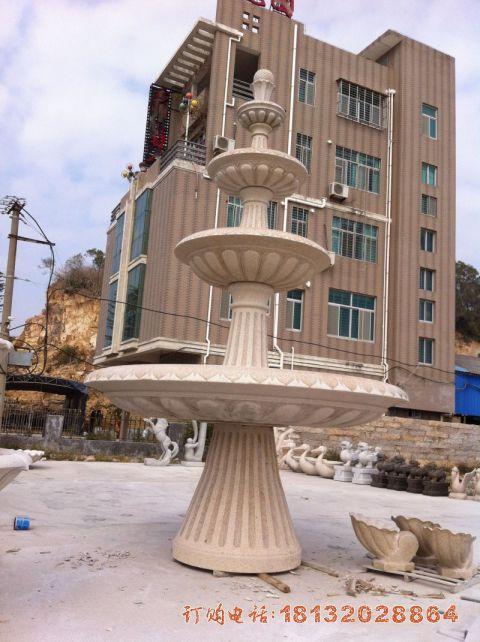小区四层简约喷泉石雕