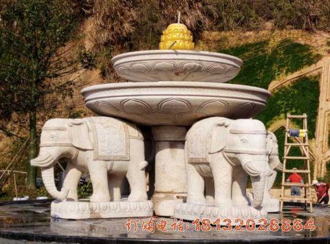 双层大象喷泉石雕