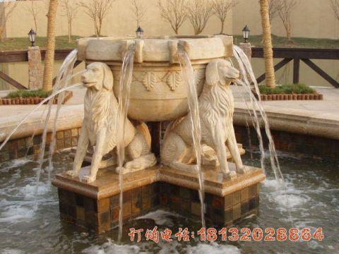 公园动物狗喷泉石雕